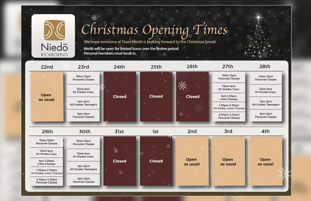 CHRISTMAS OPENING TIMES 2019-20
